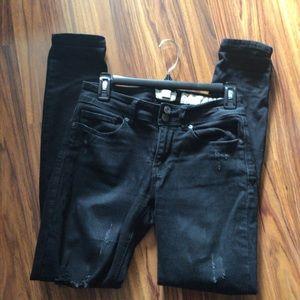 Indigo Rain Black Distressed Jeans